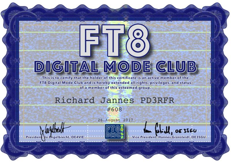 Member of the FT8 Digital Mode Club #608